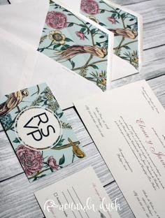 Invitación boda Botanical. Invitaciones personalizadas. Papelería boda. Diseño gráfico. Invitación pájaro.