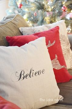 Because everyone should have pillows specifically for holidays. DIY Pillow - The Idea Room - christmas pillows diy