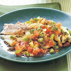 Spicy Louisiana Tilapia Fillets with Sautéed Vegetable Relish | MyRecipes.com #myplate #protein #vegetable