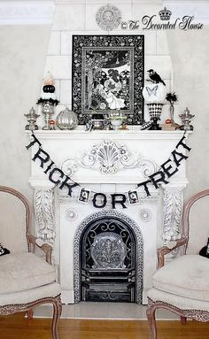 Halloween decorations : IDEAS & INSPIRATIONS  Halloween Mantel
