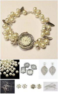 DIY pearl watch | DIY horloge met kralen | www.bykaro.nl voor kralen, bedels en meer...
