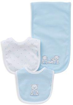 Little Me Infant Boys' Friends 3-Piece Bib & Burp Cloth Set