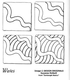 Links to online instructions for drawing Suzanne McNeill's Zentangle® pattern: Waves.
