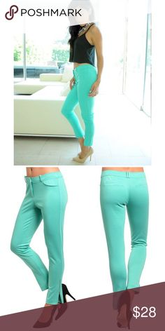"Mint Skinny Jeggings Trendy bright color Jeggings features a slim, stretch knit fabric with zipped cuffs accent. Made of poly/ rayon/ spandex blend.   Measurements taken unstretched Small waist 28""/ length from waist 35"" Medium waist 30""/ length 35"" Large waist 32""/ length 35"" Pants Skinny"