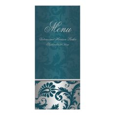 Silver and Teal Damask II Wedding Menu Card
