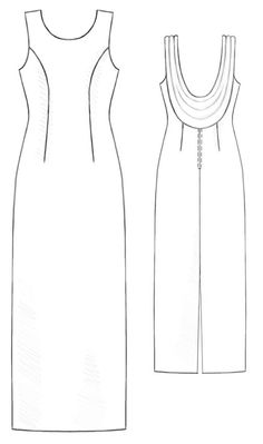 Dress With Draping On The Back  - Sewing Pattern #5209 Made-to-measure sewing pattern from Lekala with free online download.