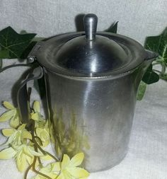 $6.96 or best offer Bloomfield Creamer Stainless Steel Heavy Duty With Hinged Lid USA Vintage