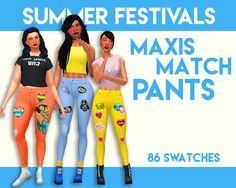 Sims 4 CC's - The Best: Summer Festival Jeans in 86 Colors by WeepingSimme...