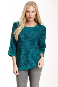 Zigzag Knit Dolman Sweater