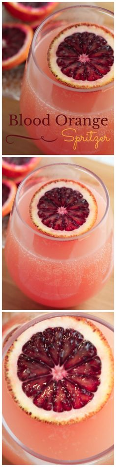 Blood Orange Spritzer - A light, bubbly wine spritzer featuring blood oranges, limes, and white wine