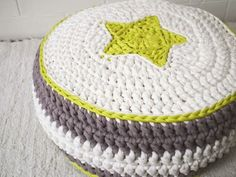 modern crochet pouf - looping home
