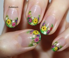 """fictionail: """" My wildflower nail art! I think these are one of my favourite ever designs, they're so pretty! You can see more photos, including a pictorial on my. Funky Nail Art, Floral Nail Art, Funky Nails, Trendy Nails, Cute Nails, Daisy Nails, Flower Nails, Daisy Nail Art, Nail Polish Designs"""