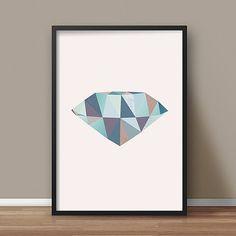 Diamond shape - Minimalist art, Geometric print, Nordic design, Modern wall art, Abstract shape, Mid century modern, Scandinavian print #007