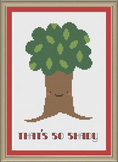 That's so shady funny tree crossstitch by nerdylittlestitcher, $3.00