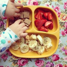 Toddler Breakfast - Banana with Peanut Butter & Hemp Seeds, Strawberries and Malted Wheats #vegan #veganbaby #veganblw #whatvegankidseat