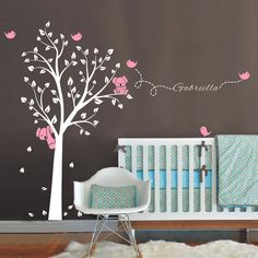 Oversize 250x200cm Koala Tree Birds Wall Sticker Personalized Name Vinyl Decals for Nursery Baby Rooms Decor Home Decoration