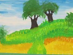 """4th grade landscape painting; 12"""" X 18""""; art teacher: Susan Joe"""