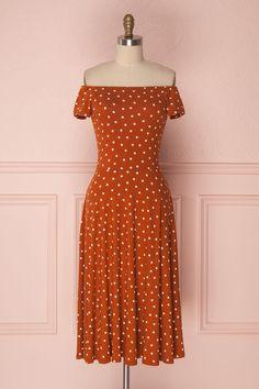 Benedickt #boutique1861 #dress #orange #polkadots #dots #white #offshoulder #mididress #vintage #retro #summer #summerdress