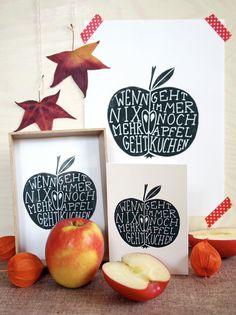 """Wenn nix mehr geht, geht immer noch (W)Apfelkuchen - ein Linoldruck, drei Freebies und ein Missverständnis - """"Fee ist mein Name"""""""