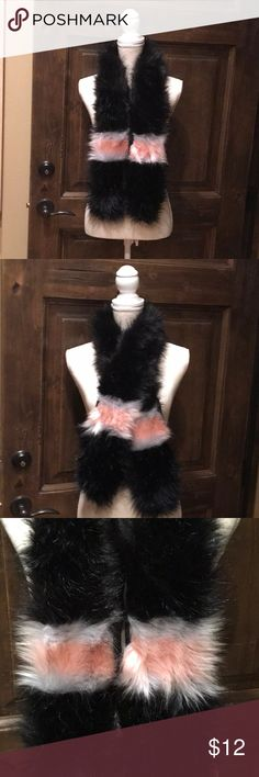 Fun Faux Fur Scarf Black, pink and white fun faux fur scarf Accessories Scarves & Wraps