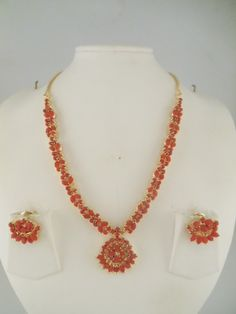 Indian Jewelry Multi color, Red coral and pearl Necklace Sets