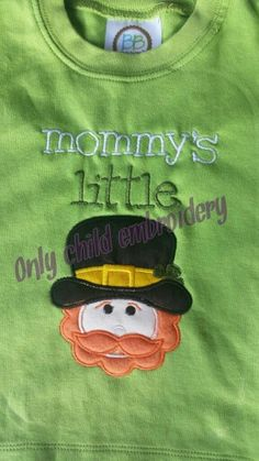 St. Patrick's day design https://www.facebook.com/onlychildembroidery/