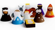 """Christmas Time - DIY Nativity Set Papercraft - by Marloes De Vries  ==          Dutch designer Marloes De Vries says: - """"A while back I made a DIY nativity set. You (or your kids) can craft your own nativity set by simply printing my template."""""""