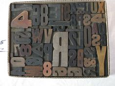 CAN DO SOME KOOL DIYs WITH THESE BLOCK LETTERS!!  Antique Printers Wood Type Letterpress (5) - 54 Pieces