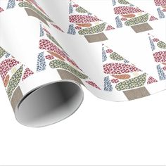 Snowflake Teardrops Tree Christmas Wrapping Paper