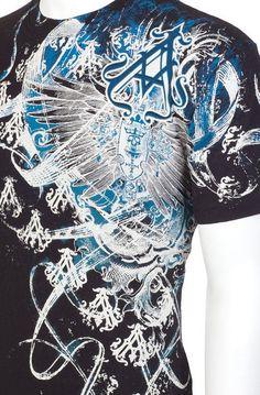 Archaic AFFLICTION Men T-Shirt WOODCUTS Wings Tattoo Biker MMA UFC BKE M-3XL $40 #Affliction #GraphicTee