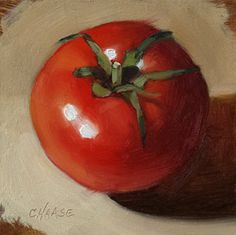 Small Original Oil Painting Tomato 4 x 4 by CynthiaHaaseFineArt, $50.00