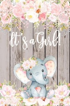 elephant items ********** PRINTING **********For the printing I recommend using Stickers and Banners () because they use a high-quality vinyl, production is quick, print quality is grea Elephant Baby Shower Centerpieces, Baby Shower Favors Girl, Baby Shower Backdrop, Baby Girl Shower Themes, Baby Shower Decorations For Boys, Baby Shower Gender Reveal, Baby Girl Elephant, Elephant Baby Showers, Pink Elephant