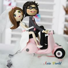 Wedding Cake topper Clay Couple on Vespa Just Married by AsiaWorld, $98.50