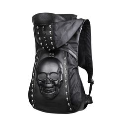 Cheap backpack with, Buy Quality skull leather backpack directly from China fashion leather backpack Suppliers: New 2015 Fashion Personality 3D skull leather backpack rivets skull backpack with Hood cap apparel bag cross bags hiphop man