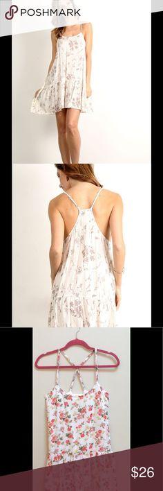 Floral Drop Waist Dress Spaghetti strap, floral print drop waist a-line dress. 100% rayon, Bust 34, Waist 26, Hip 34. Hem & Thread Dresses