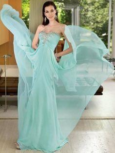 Sexy A-line/Princess Sweetheart Beading Floor-length Chiffon Prom Dresses