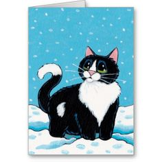 Tuxedo Cat Standing Knee Deep in Snow Painting Cat Art Greeting Card by Lisa Marie Robinson I Love Cats, Crazy Cats, Cool Cats, Frida Art, Image Chat, Cat Quilt, Cat Drawing, Cats And Kittens, Fat Cats
