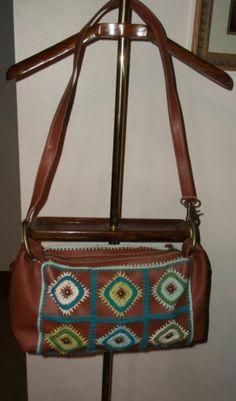 BCBG Brown Faux Leather & Crochet Detail Handbag Purse