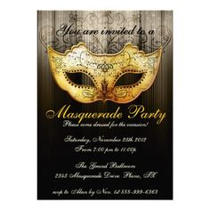 Masquerade Party Celebration Fancy Gold Invitation. A fancy and elegant invitation featuring a gold toned masquerade mask with black flourishes on it, a gold toned background with a subtle damask pattern overlay into black and fancy type that is customizable for your party details.