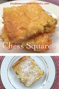 This Chess squares recipe is a great homemade dessert for any occasion. The chess squares, a. chess bars, are an easy recipe to make from scratch that all of your friends and family will love. Dessert Simple, Cake Mix Recipes, Cookie Recipes, Meat Recipes, Seafood Recipes, Crockpot Recipes, Healthy Recipes, Köstliche Desserts, Dessert Recipes