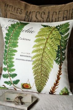 Pillow Cover Green Botanical Fern Cotton and Burlap