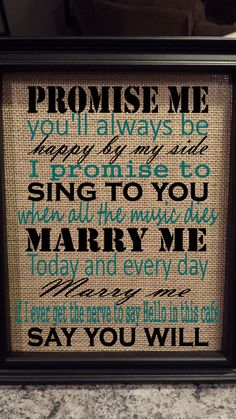 Framed Burlap Print Marry Me Train Lyrics Today And Every Day Wedding Anniversary First Dance Wall Art 8x10