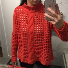 ✨price drop! Free People Sweater Price drop is Limited time only! Free People knit orange sweater. Has a small turtleneck. Great color and super comfortable. Free People Sweaters