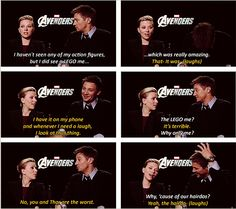 Scarlett Johansson and Jeremy Renner discussing LEGOS.