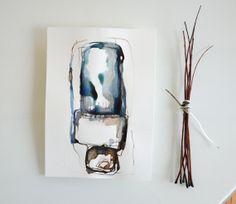 Original abstract art ink drawing Modern, minimal,ink dark, movement, art ink, brown,sepia, ink wash