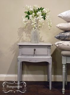 Bedside Table completed in @anniesloanhome #chalkpaint Paloma with hints of Paris Grey | by Pomponette | Leicester