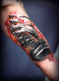 The best ship tattoo design inked on the man's bicep. Very beautiful and detailed piece.