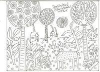 RUG HOOK CRAFT PAPER PATTERN Deer And Bird FOLK ART PRIMITIVE Karla Gerard