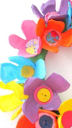 egg carton flowers.