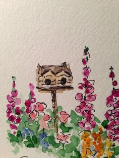Charming Garden Watercolor Card by gardenblooms on Etsy